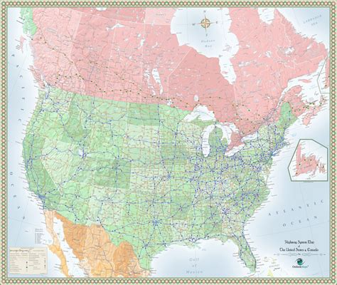 map of us and canada highways usa and canada highway wall map maps