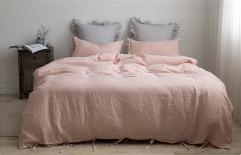 blush colored bedding washed blush pale pink pale blush coral ribbon by