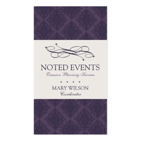 event coordinator business card templates damask interior design and event planner sided
