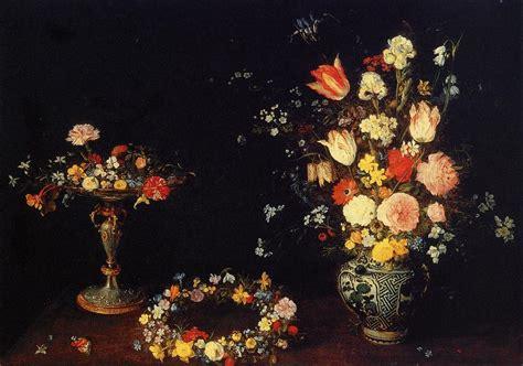 in un vaso di porcellana natura morta con tazza garland e mazzo di fiori in un
