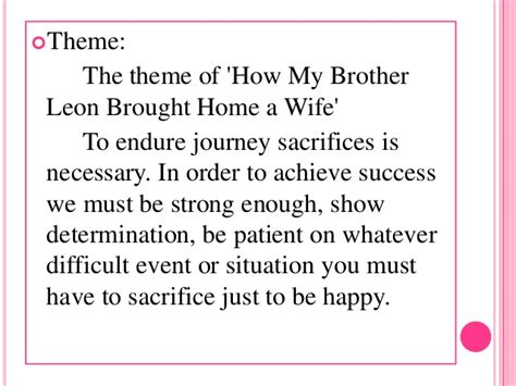 Themes Of The Wife S Story | how my brother leon brought home a wife