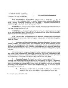 postnuptial agreement north carolina free download