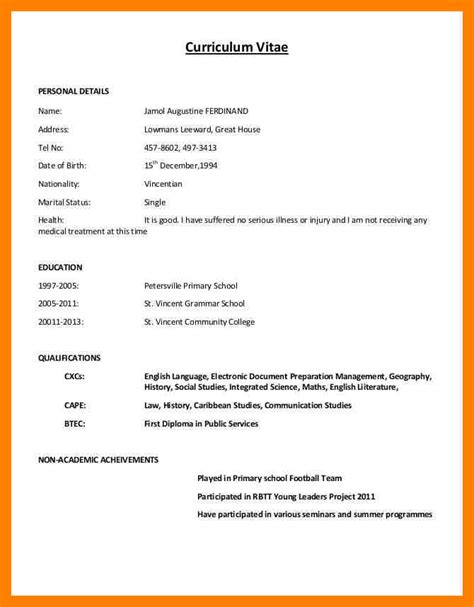 how to write cv or resume 5 how to write cv exle emt resume