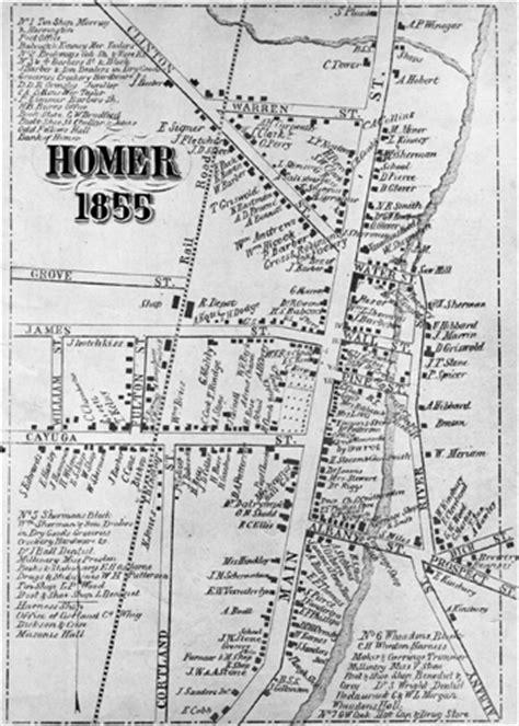 historical markers in map landmark society of homer ny