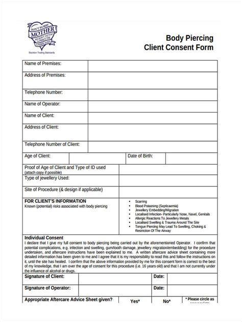 tattoo aftercare template sle client consent form 8 free documents in word pdf
