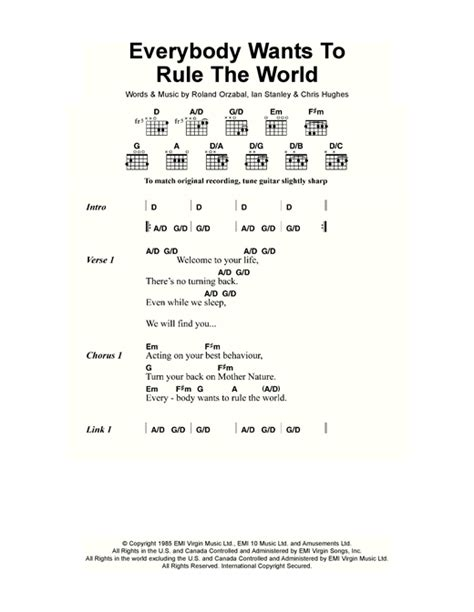 printable lyrics to everybody wants to be a cat everybody wants to rule the world sheet music by tears for