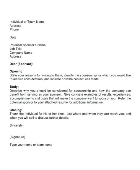 Individual Sports Sponsorship Template Sport Sponsorship Letter Docoments Ojazlink