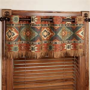 Southwestern Style Curtains Ridge Grommet Valance Saddle Brown 60 X 16 Touch Of Class