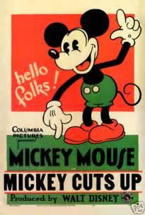 Ticking Upholstery Fabric Mickey Cuts Up Disney Vintage Cartoon Movie Poster Ebay