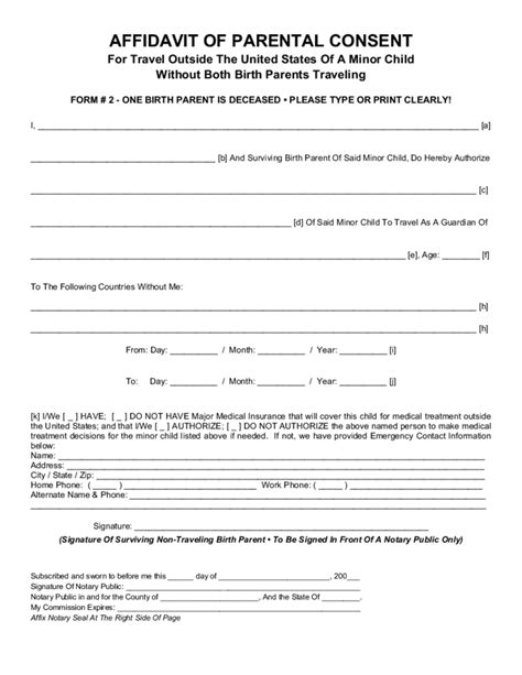 parent permission form template parental consent form for child travel free