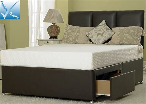 divan bed frame only 4ft 6in divan bed base only in brown faux leather
