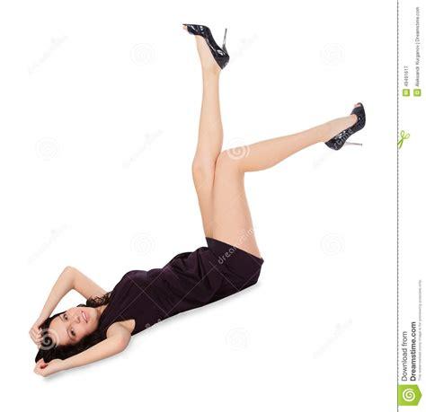 happy in black dress lie on the floor stock photo