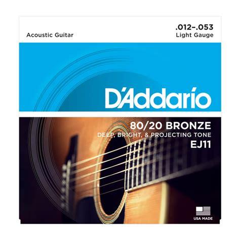 D Addario Strings 80 20 Bronze Wound Ej11 80 20 Bronze D Addario Light Acoustic Guitar Strings