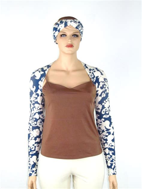 Blue Butterfly Shirt Dress Size S M L blue scrolling print shrug with matching headband wrap bamboo jersey size m l