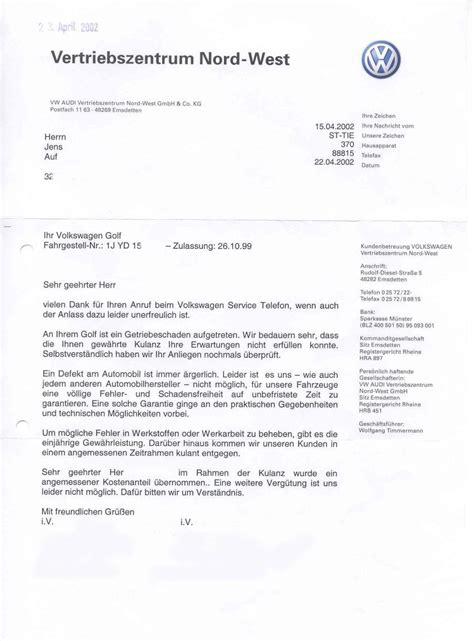 Beschwerde Brief Autohaus Kulanz Bei Vw Kochsiek Org