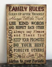 Home Decor Wall Signs Primitive Wood Sign 12 Quot X 18 Quot Tan Family Rules Rustic