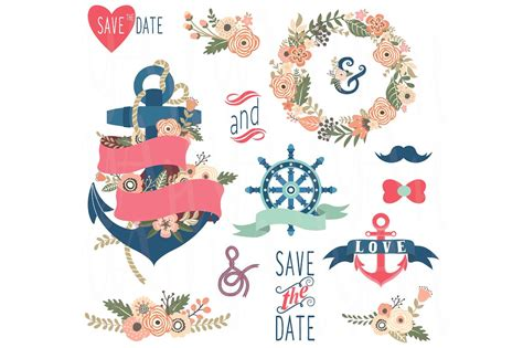 Nautical Wedding Clipart by Nautical Floral Wedding Elements Illustrations