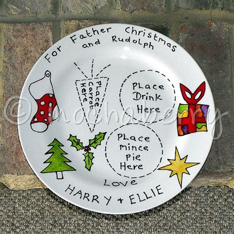 ideas for christmas plate designs personalised and rudolph plate santa plate