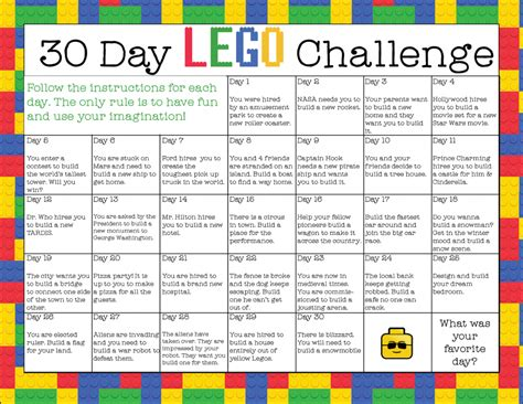 Challenger School Calendar Free Printable 30 Day Lego Challenge Instant