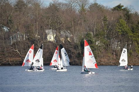 boating in boston lake cochituate wellesley high sailing team floats spiffy new boats