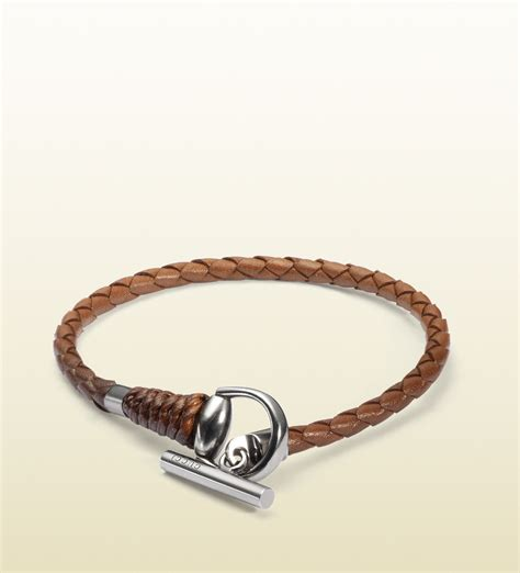 Gucci Leather Bracelet with Horsebit Toggle Closure in Brown for Men   Lyst