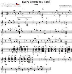 fingerstyle tutorial every breath you take bella ciao fingerstyle guitar sheet music piesne