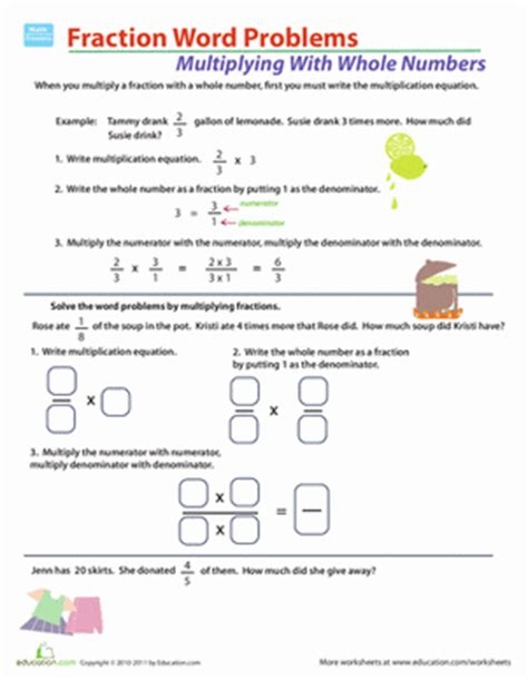 Fractions Word Problems Worksheets by Fraction Multiplication Word Problems Worksheet