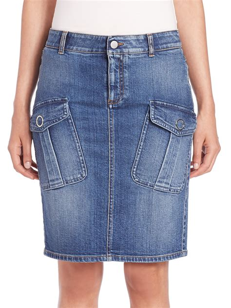 stella mccartney denim cargo skirt in blue blue lyst