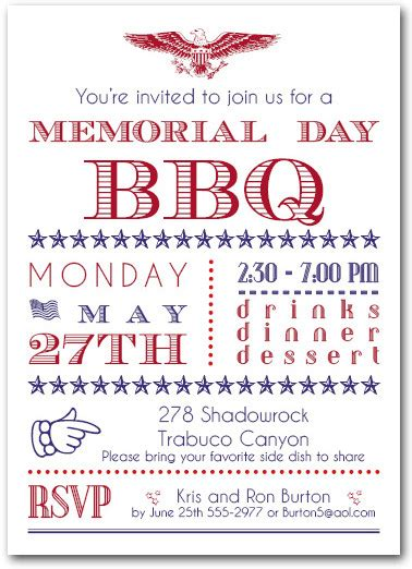 Come With Me Memorial Day Bbq by Memorial Day Patriotic Bbq Invitations