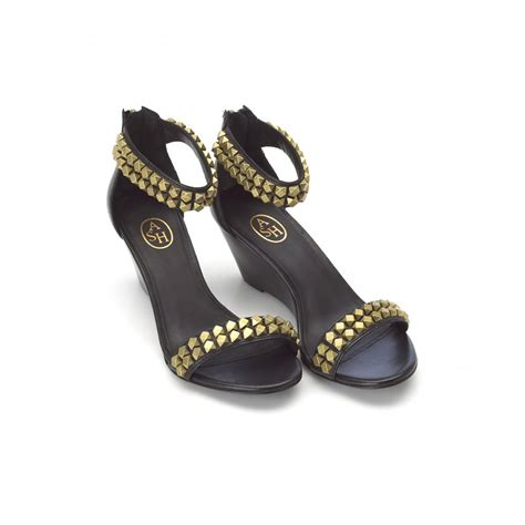 ash footwear black gold stud low wedge sandals