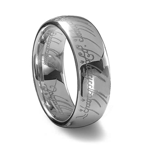 silver tungsten carbide laser engraved elvish lotr ring