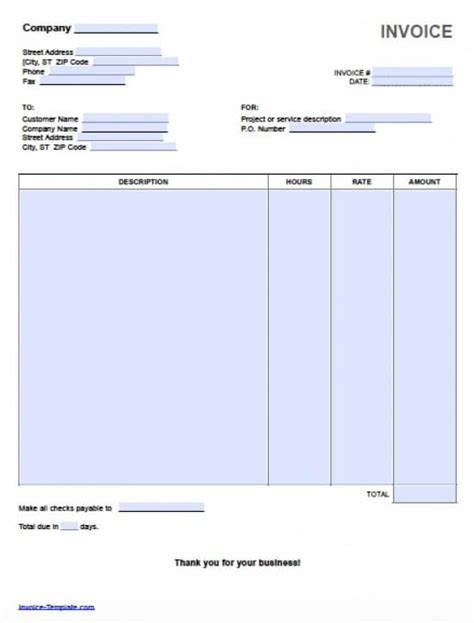hourly service invoice template free hourly invoice template excel pdf word doc