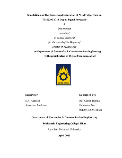 Simulation Thesis Topics by M Tech Thesis On Simulation And Hardware Implementation Of