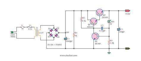 transistor zener regulator 9v regulated power supply circuit using transistors and zener