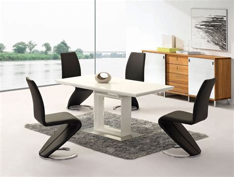 extending white high gloss dining table and 4 chairs set