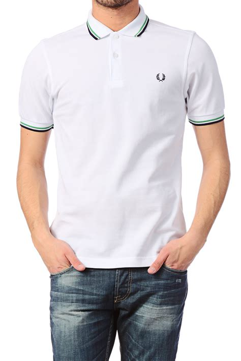 T Shirt Polo Fred Ferry fred perry polo shirt slim fit tipped shirt in white for lyst