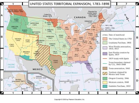 expansion of the united states map the united states of america territorial expansion 1783