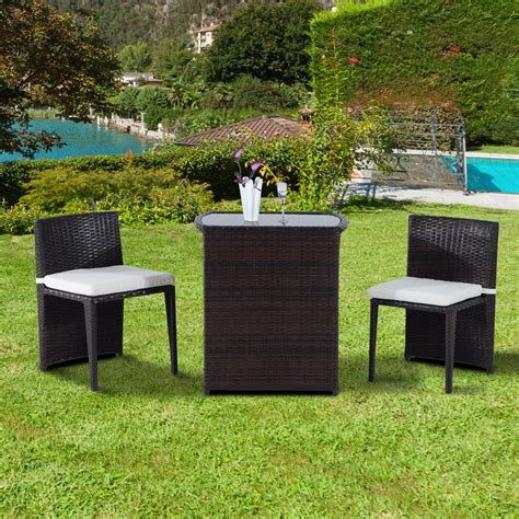 Wicker Patio Table And Chairs Outsunny 3 Chair And Table Rattan Wicker Patio Nesting Furniture Set Rattan Furniture
