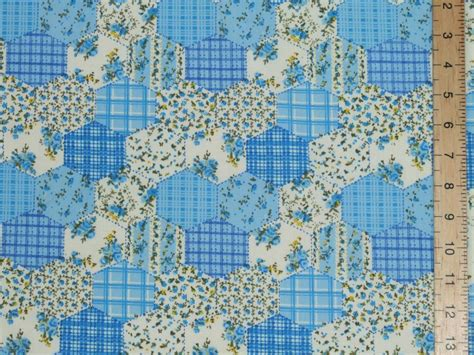 Patchwork Print Fabric - hexagonal patchwork printed polycotton fabric blue