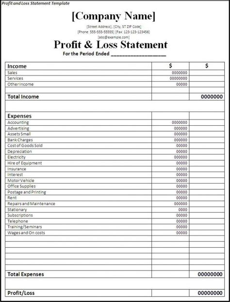 profit loss statement form beneficialholdings info