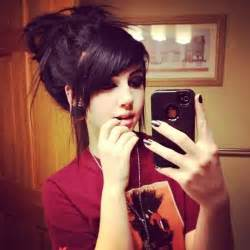 pic of black side swept bangs and bun hairstyle hahaa waring this hair style right now so adorbs and