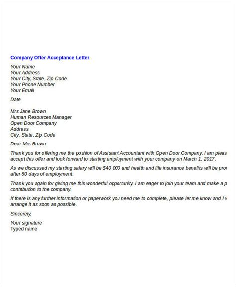 Sle Cover Letter After Being Laid offer letter sle pdf free 28 images best and offer