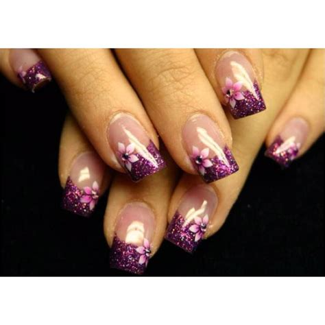 purple flower nails purple glitter tips with purple flowers nail beauty