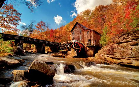 mill house trees forest river rocks stones bridge hd