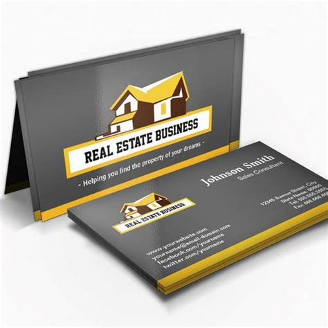3 Stylish Real Estate Business Card Templates by Real Estate Broker Realtor Modern Stylish Yellow