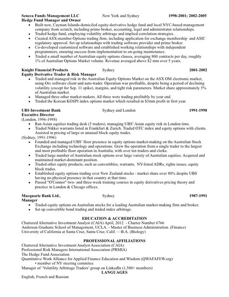 Derivative Trader Sle Resume by Sales Trading Resume