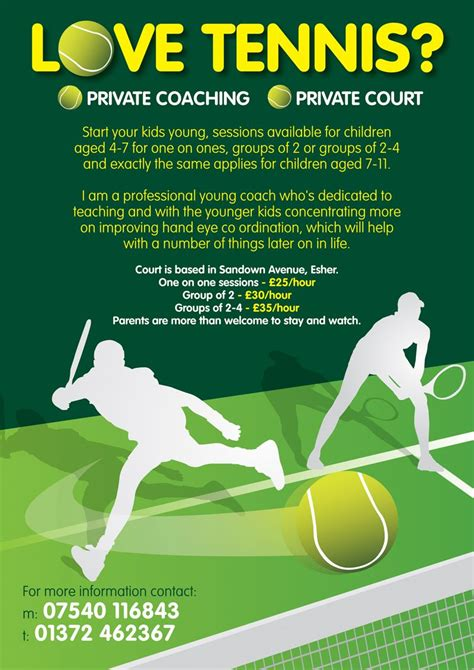 tennis flyer template free leaflet design for tennis coaching for by www flyer designers co uk tenniscoaching