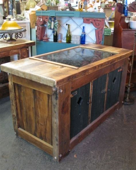 custom made kitchen island from vintage reclaimed wood