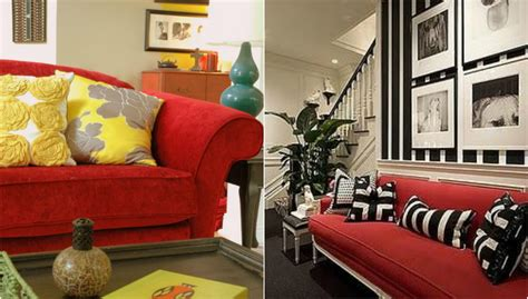 red sofa decor oronovelo red couch living room inspiration