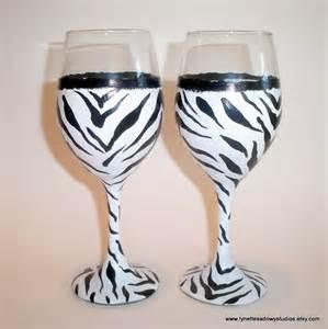 Zebra wine glass hand painted amp dishwasher safe
